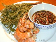blanched neem with grilled shrimp
