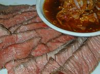 grilled steak with spicy shallot sauce