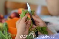 vegetarian stir fried pumpkin shoots step 1
