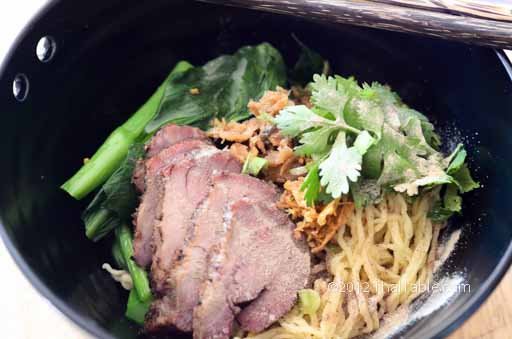 egg noodles with barbeque pork