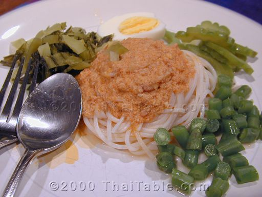 noodles with fish curry sauce
